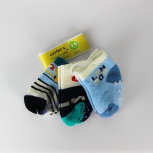 Baby Boy Socks (3 Pairs Set) - White & Blue