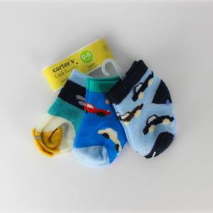 Baby Boy Socks (3 Pairs Set) - Black & Blue