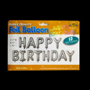 Happy Birthday Banner - Silver (13 letter)
