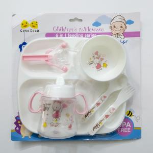Cute Duck Children's Tableware 6 in 1 (Feeding Series) - Pink